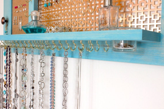 Jewelry Organizer - Wall hanging jewelry shelf display and mirror