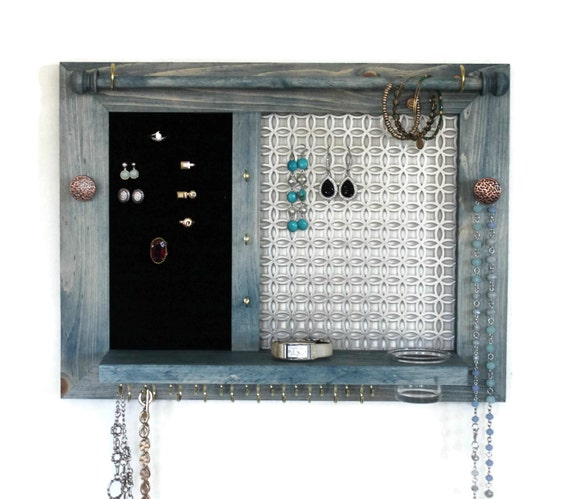 Jewelry Holder - Wooden Wall Hanging Jewelry Organizer // Jewelry Display // Jewelry Rack