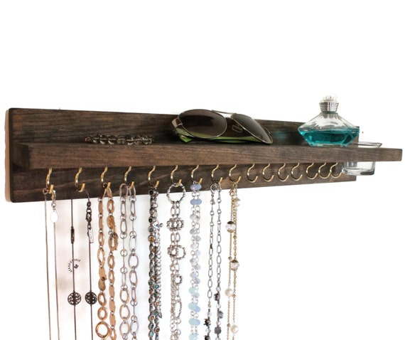 Necklace Organizer and Shelf with glass jar