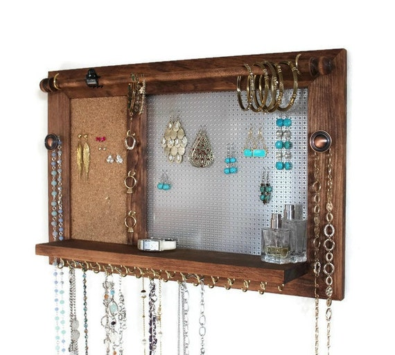 All-in-One Jewelry Board - Wooden Wall Hanging Jewelry Shelf
