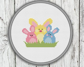 Easter Bunnies Cross Stitch Pattern, Animals Needlepoint Pattern - PDF, Instant Download