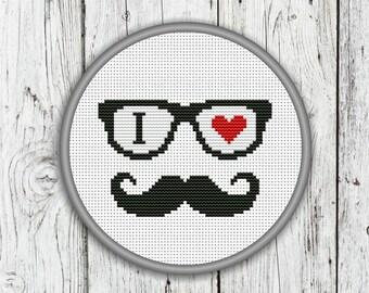 I Love Mustache Counted Cross Stitch Pattern, Hipster Mustache Cross Stitch Pattern - PDF, Instant Download