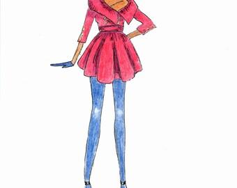 Croquis De Mode Illustration Mode Mode Dessin Femme Noire Art Etsy