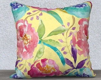 Floral Pillow Cover - Modern Flowers Cushion Cover - Modern Decor - Yellow Peach Pink Blue Pillow Cover - Decorative Pillow