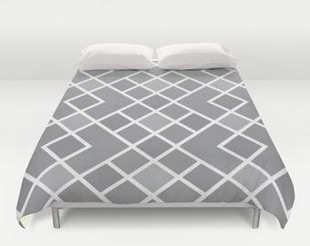 Geometrische Duvet Cover   Slate Grey Und White   Moderne Diamond Pattern    Mitte Des Jahrhunderts   Bettwäsche Queen Größe Bettbezug   König Größe ...