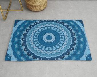 Items Similar To Blue Coral Mandala Area Rug Blue Area