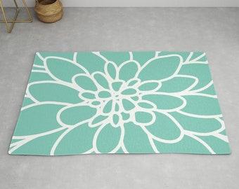 Mint Flower Rug Woodland Rug Modern Mint Rug Dandelion Rug Kids Room Decor Floral Nursery Rug