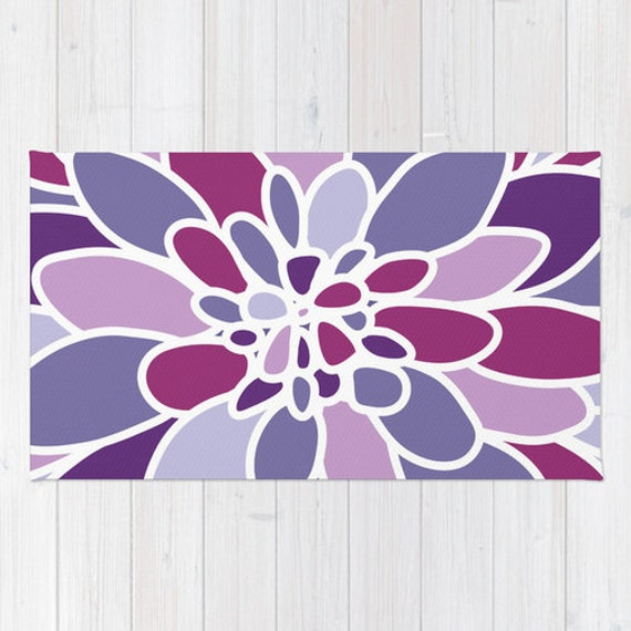 Purple Rug Australia: Purple Flower Area Rug Abstract Flower Rug Purple Violet
