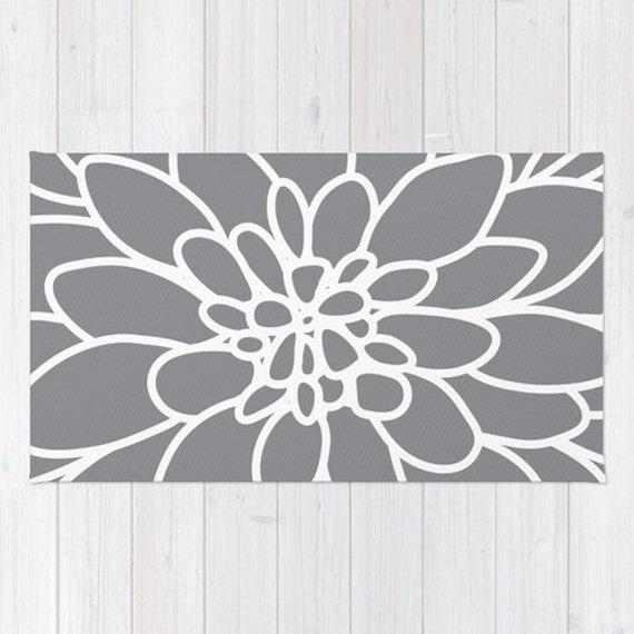 Modern Dahlia Flower Rug Area Rug Slate Grey And White Etsy