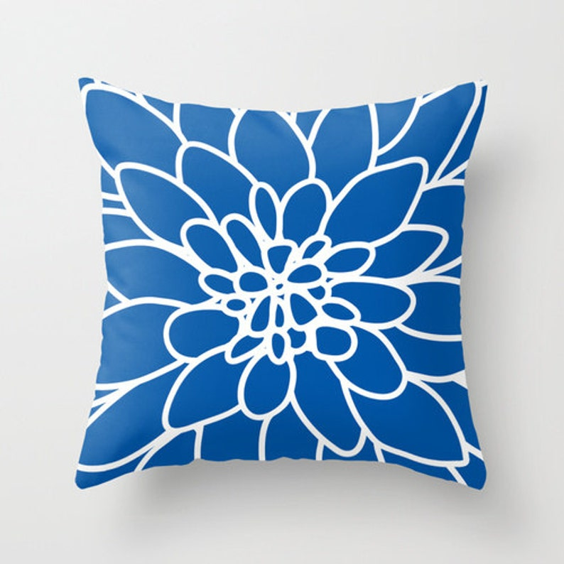 Dahlia Flower pillow with insert Cover  Modern Home Decor  image 0