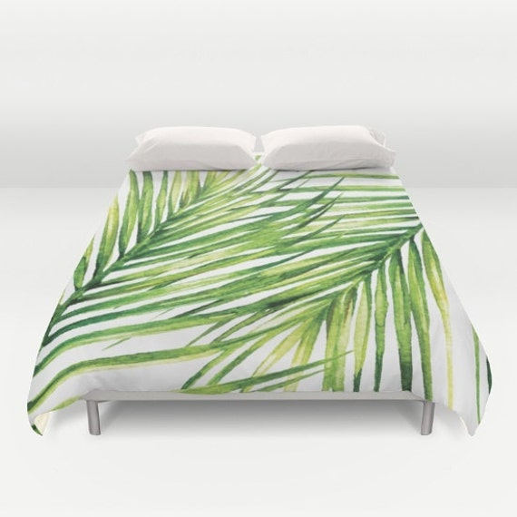 housse de couette de feuille de palmier tropical housse de etsy. Black Bedroom Furniture Sets. Home Design Ideas