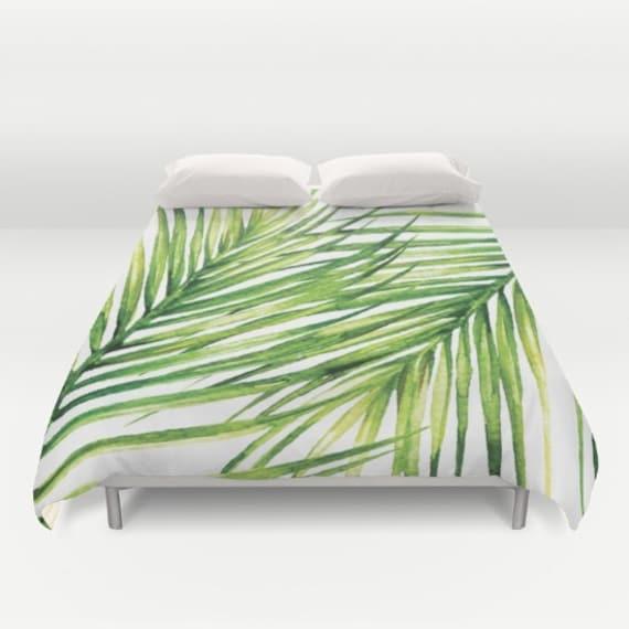 housse de couette de feuille de palmier tropical housse de etsy. Black Bedroom Furniture Sets. Home Design Ideas