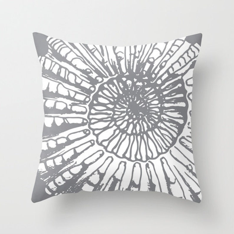 Nautical Home Decor By Aldari Home Beach House Grey Fossil Sea Life Fossil Print Nautilus pillow with insert