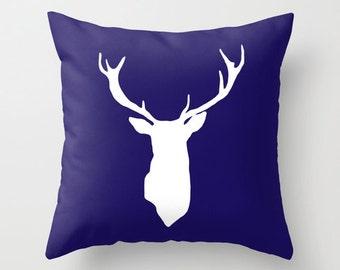 Deer Antlers Pillow with insert - Navy Blue Deer Pillow with insert - Modern Deer Pillow - Woodland Home Decor -