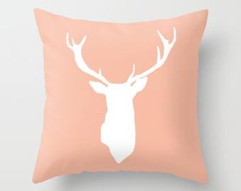 Deer Antlers Pillow with insert - Peach Deer Pillow - Modern Deer Throw Pillow - Woodland Home Decor -