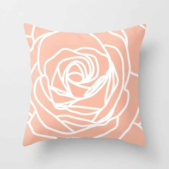 Rose Throw Pillow Modern Flower Accent Pillow Abstract Etsy