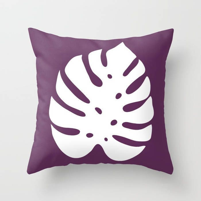 Monstera Leaf Pillow Cover Modern Leaf Pillow Cover
