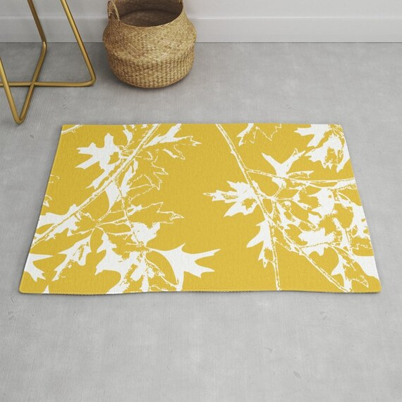 Maple Tree Branches Area Rug Mustard Yellow Area Rug Etsy