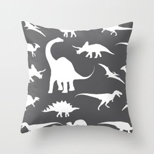 Dinosaurs Pillow Cover Dinosaurs Decor Grey Pillow Cover Etsy