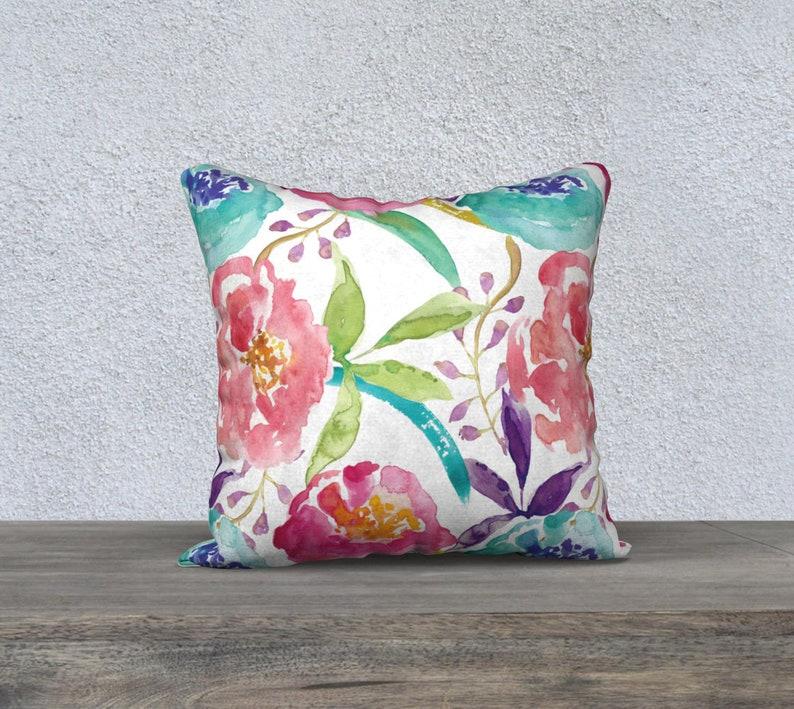 Floral Pillow Cover Peach Pink Blue Pillow Cover Modern Decor Modern Flowers Cushion Cover Decorative Pillow