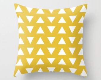 Triangles Pillow  - Geometric Pillow  - Yellow and White Triangles Pillow  - Decorative Pillow - By Aldari Home