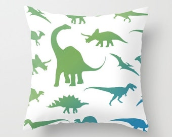 Dinosaurs Pillow With Insert - Dinosaurs Decor - Blue and Green Pillow Cover - Boy Bedroom Decor - Dinosaur Cushion Cover - Accent Pillow