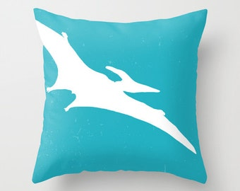 Pterodactyl Pillow with insert Cover - Blue and White - Dinosaur Decorative Pillow with insert - Accent Pillow with insert - Turquoise Blue