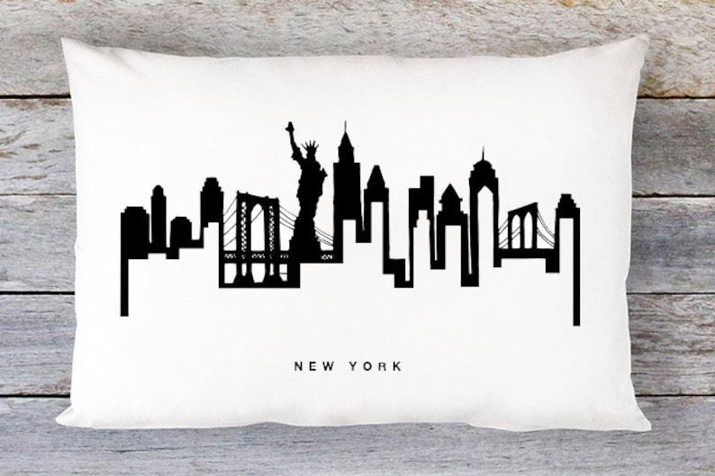 New York City Skyline Pillow By Aldari Home Modern Black and White Lumbar Pillow New York Skyline Throw Pillow