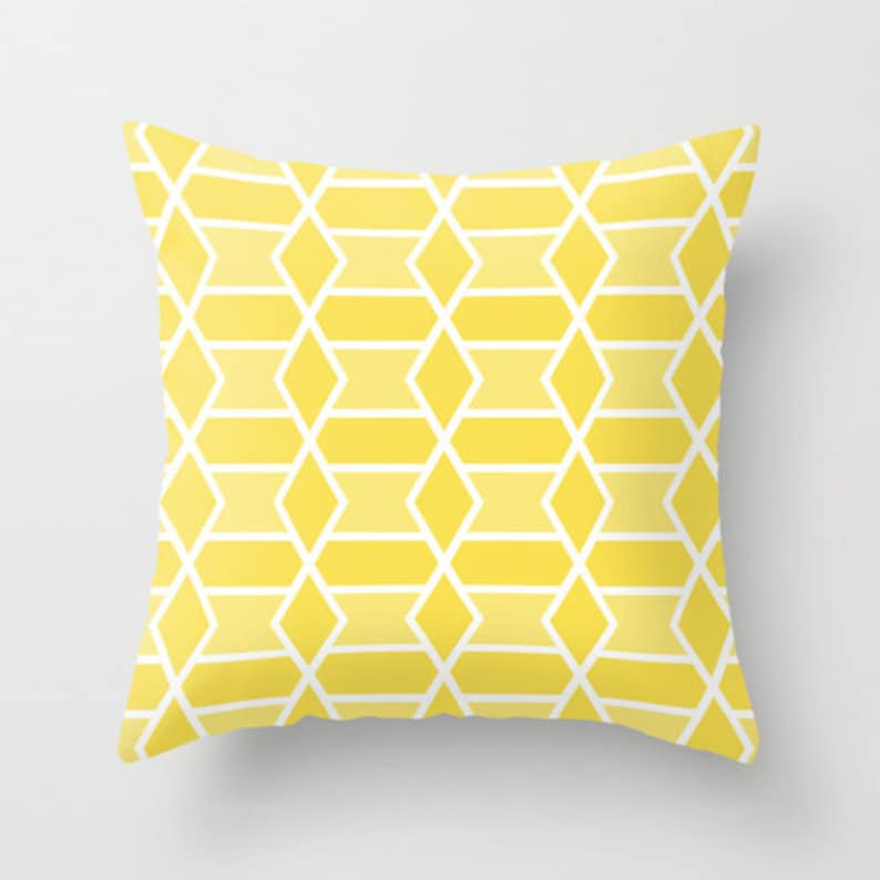 Decorative Pillow Triangles Pillow Yellow and White Triangles Pillow Geometric Pillow By Aldari Home