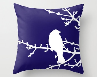 Bird on Twig Pillow with insert - Blue  Pillow with insert - Modern Home Decor -