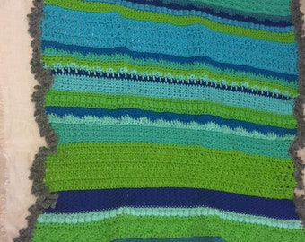 Texturized Baby Blanket Blues and Greens