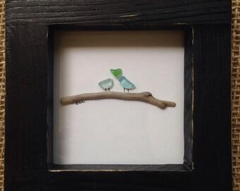 Love Birds Sea Glass Picture
