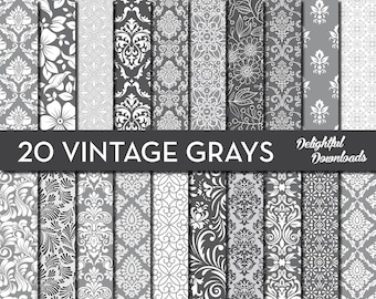 "Gray Floral Digital Paper ""20 VINTAGE GRAYS"" with 20 gray floral damask digital papers for scrapbooking, cards, prints."