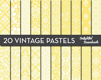 "Yellow Floral Digital Paper ""20 VINTAGE PASTEL YELLOWS"" with 20 yellow floral damask digital papers for scrapbooking, cards, prints."