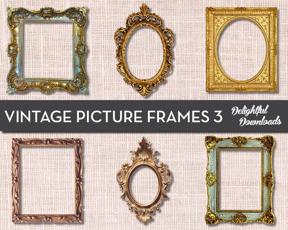 Antike Vintage Bilderrahmen ClipArt VOL 3 für digitale | Etsy