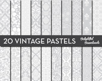 "Gray Pastel Floral Digital Paper ""20 VINTAGE PASTELS"" with 20 light gray floral damask digital papers for scrapbooking, cards, prints."