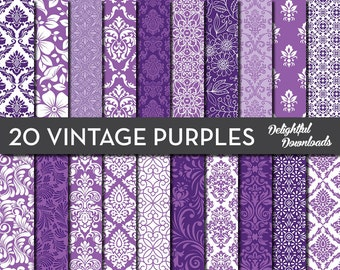 "Purple Floral Digital Paper ""20 VINTAGE PURPLES"" with 20 purple floral damask digital papers for scrapbooking, cards, prints"