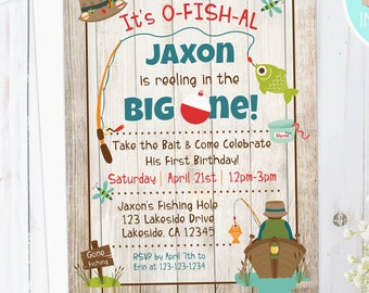 FISHING Birthday Invitation | First Birthday Invite | Fish themed birthday invitation | Printable | fishing rod and boat | Digital, download
