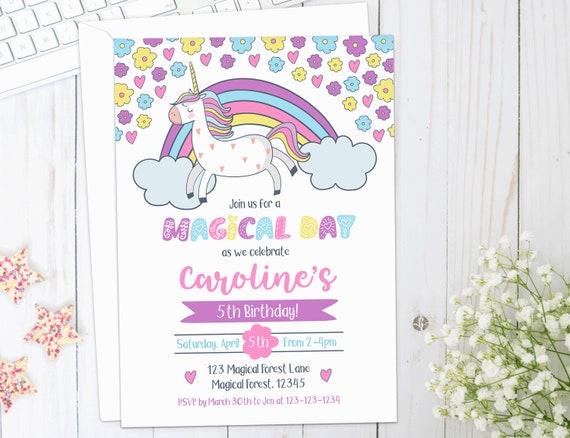 UNICORN Birthday Invite Unicorn Theme Invitation