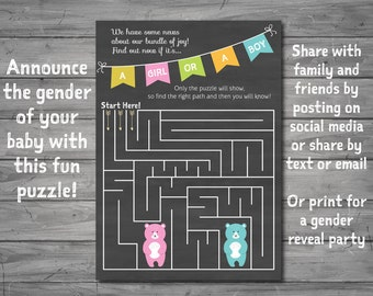 Gender Reveal Puzzle, instant download, JPEG, gender reveal, new baby, baby shower game