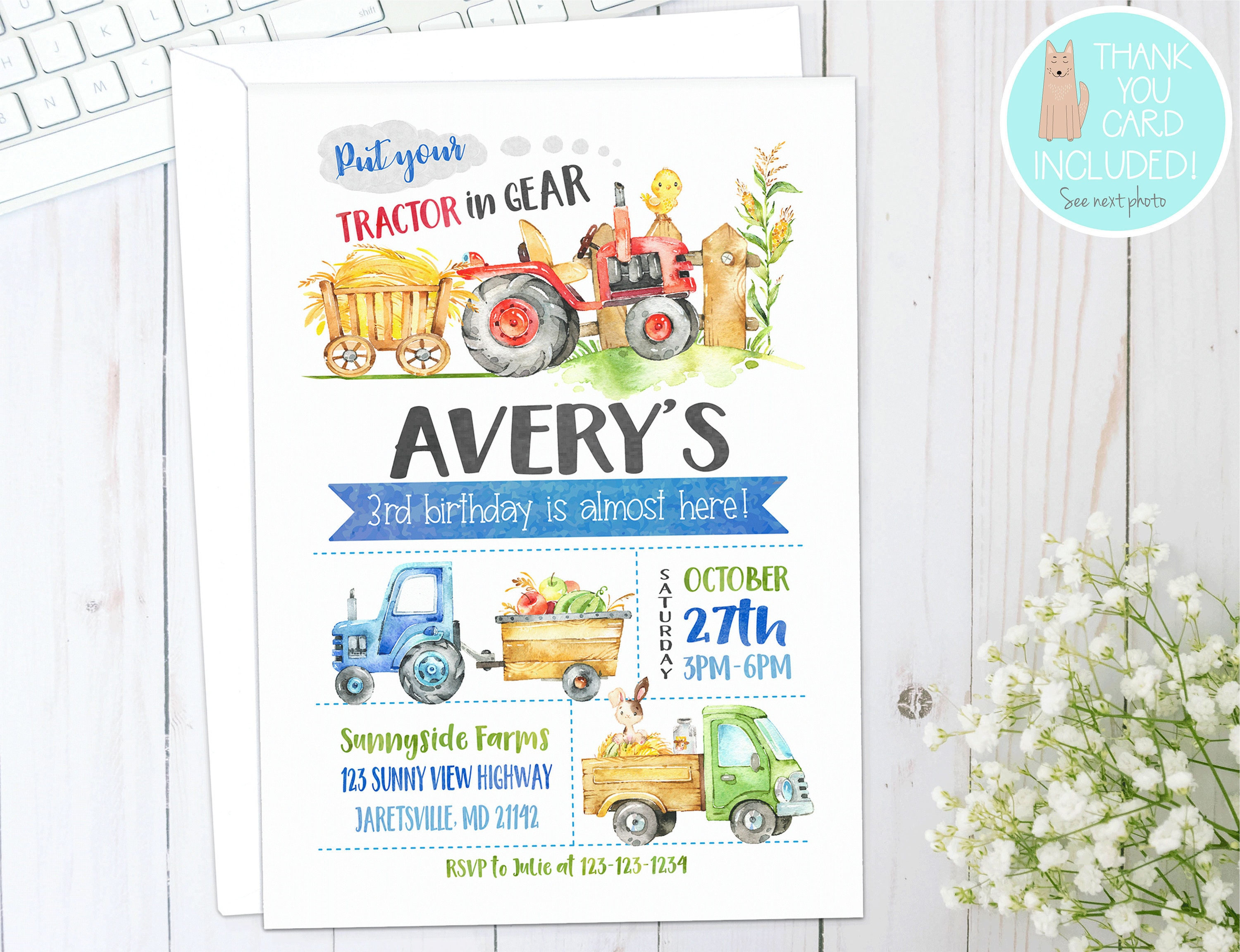 TRACTOR Birthday Invitation Farm Birthday Invite Tractor | Etsy
