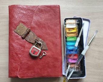 Artist sketchbook,leather Journal,Handmade Leather Journal with hardware lock,Rustic wrap-around Art journal,graduation memory keepsake book