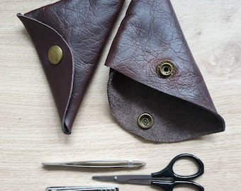 Leather Manicure Set in Handmade Leather Pouch,Gift for him, Grooms gift, Best man, mans gift, personal hygiene, beauty gift, nail grooming