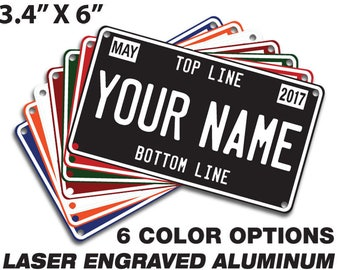Custom Mini License Plate, personalized for your spacecraft: bike, trike, wagon, scooter, walker, wheel chair, golf cart or mutant vehicle.