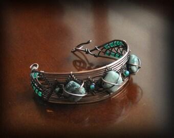 Turquoise Howlite bracelet/Lisa Barth design/wire woven bracelet/copper cuff bracelet/green beaded bracelet/wire wrapped jewelry/renaissance