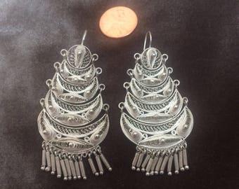 Vintage Sterling Silver Filgree Mexican Drop Earrings