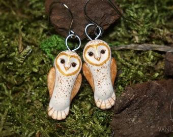 Barn Owl Earrings Owls Animal Bird Jewelry Totem