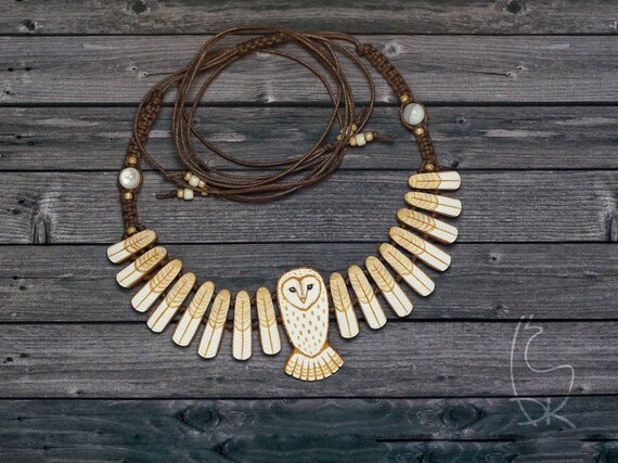 Barn Owl Necklace Animal Totem  DISPLAY ITEM Made to Order White Gold Owl Bird Wings Jewelry