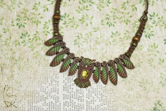 Owl Necklace Woodland Forest Animal Totem Jewelry Wisdom Owl Bird Wings Nature Autumn Leaf