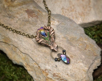 Forest Rainbow Crystals Necklace Fantasy Magical Dragon Jewelry